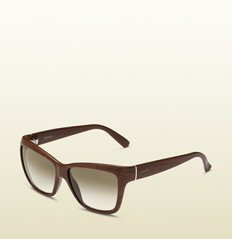 Gucci Rectangular Bio-Based Wood Sunglasses