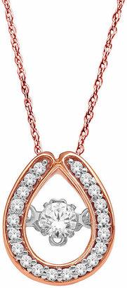 FINE JEWELRY Love in Motion 1/5 CT. T.W. Diamond 10K Rose Gold Teardrop Pendant Necklace