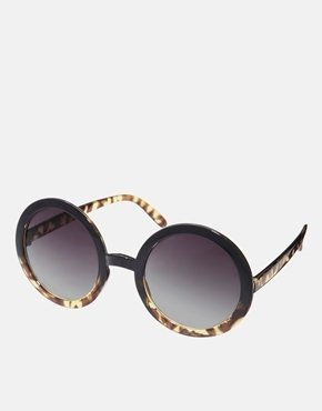 Asos Tort Mixed Frame Round Sunglasses.