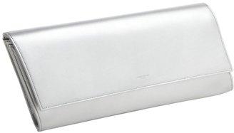 Saint Laurent silver leather 'Diagonale' button front clutch
