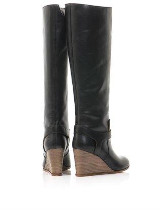Maison Martin Margiela Knee-high wedge heel leather boots