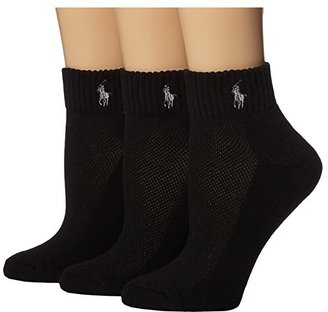 Lauren Ralph Lauren Cushion Foot Mesh Top Cotton Quarter 3 Pack (Black) Women's Quarter Length Socks Shoes