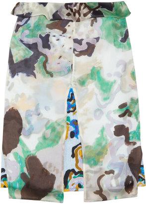 Michael Van Der Ham Printed silk-blend organza skirt