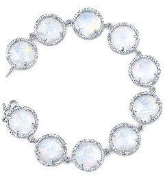 Irene Neuwirth Rose Cut Rainbow Moonstone Bracelet with Diamonds - White Gold