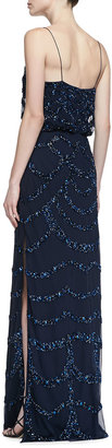 Aidan Mattox Beaded Thin-Strap Blouson Gown