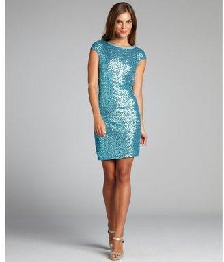 Ali Ro cool aqua sequin cap sleeve party dress