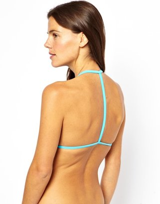 Asos Mix and Match Moulded Triangle T Back Bikini Top - Blue