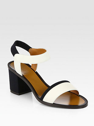 Fendi Polifonia Bicolor Leather Sandals