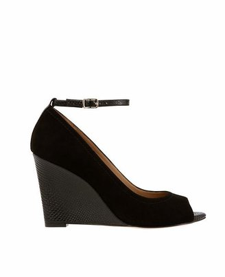 PeepToe Bailey Suede and Exotic Leather Wedges
