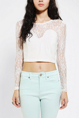 Urban Outfitters Glamorous Lace Sweetheart Cropped Top