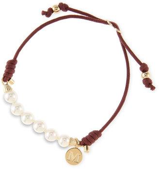 Majorica 6mm White Pearl Bracelet, Burgundy