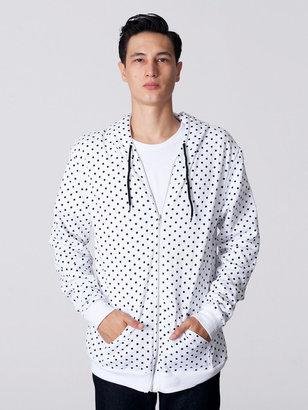 American Apparel Polka Dot Flex Fleece Zip Hoodie