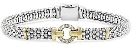 Lagos 18K Gold and Sterling Silver Caviar and Diamonds Rope Bracelet, 6mm
