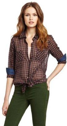 BCBGeneration Women's Woven Button Up Shirt With Contrast Denim