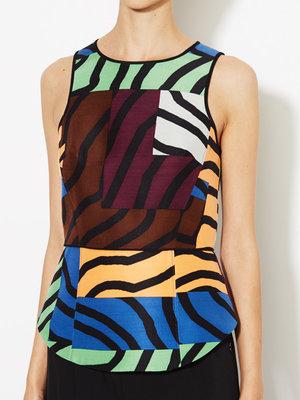 Tibi Zebra Maze Wool Silk Shell