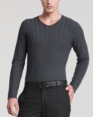 Giorgio Armani V-Neckline, Broken Herringbone Sweater, Gray