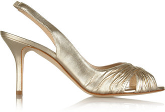 Oscar de la Renta Oli metallic leather slingbacks