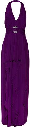 Notte by Marchesa Embellished silk-chiffon halterneck gown