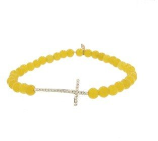 Sydney Evan Small Diamond Cross on Yellow Jade - Yellow Gold