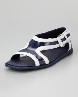 Prada Runway Leather Contrast Sandal