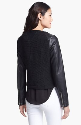 Bebe Collarless Wool Blend & Faux Leather Jacket