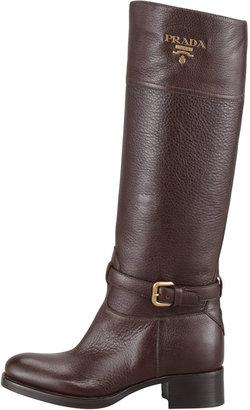 Prada Tall Logo Riding Boot, Brown