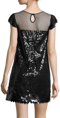 RED Valentino Ruffle-Sleeve Sequin Shift Dress, Black