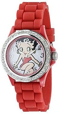 Betty Boop Womens Red Strap Watch