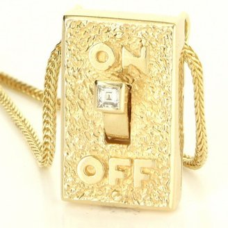 excellent (EX) Vintage 14 Karat Yellow Gold Diamond On Off Pendant Necklace
