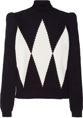Stella McCartney Diamond-intarsia wool turtleneck sweater