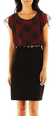 JCPenney Alyx® Plaid Belted Dress - Petite