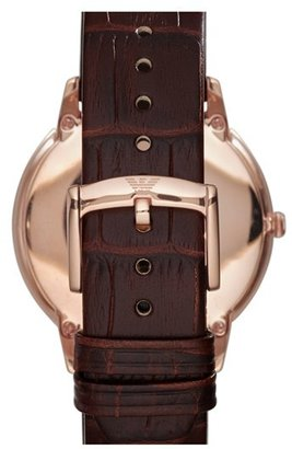 Emporio Armani Round Croc Embossed Leather Strap Watch, 42mm