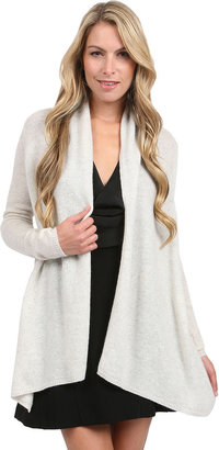 White + Warren Shimmer Open Cardigan in Linen
