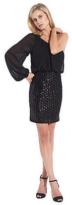 Laundry by Shelli Segal One-Shoulder Long-Sleeve Blouson Dress