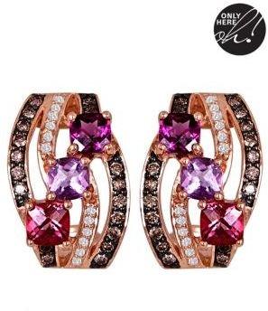 LeVian 14 Kt. Rose Gold Multi-Diamond Earrings