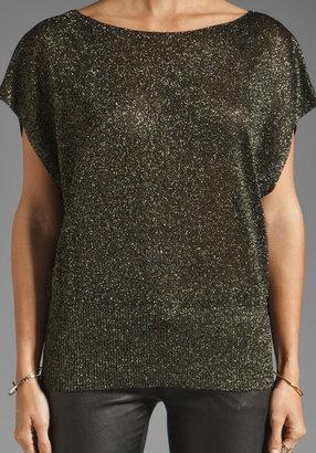 Alice + Olivia Celie Metallic Sparkly Pullover in Black/Gold