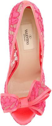 Valentino Peep-Toe Lace Bow Pump, Pink
