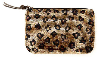 Lucky Brand Leopard Seed Bead Leather Zip Pouch*