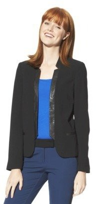 Mossimo Womens Faux Leather Trim Dinner Jacket - Black