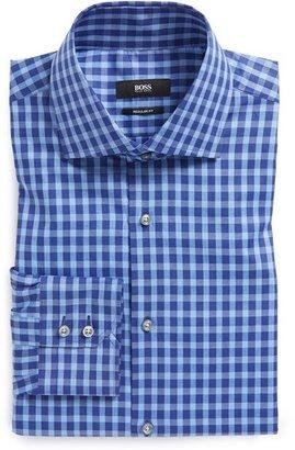 HUGO BOSS 'Gerald' Regular Fit Cotton & Linen Check Dress Shirt