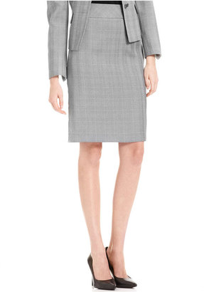 Le Suit Skirt, Windowpane-Plaid Pencil
