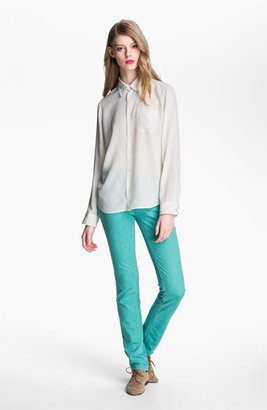 A.P.C. Long Sleeve Dot Silk Blouse Blanc Casse Medium