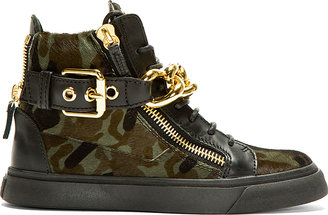 Giuseppe Zanotti Black Calf-Hair Chain Detail High-Top Sneakers