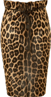 Valentino Natural Leopard Print Haircalf Skirt