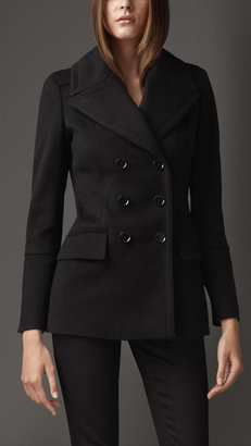 Burberry Revere Collar Wool Cashmere Pea Coat