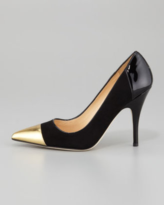 Kate Spade Liberty Cap-Toe Suede Pump, Black/Gold