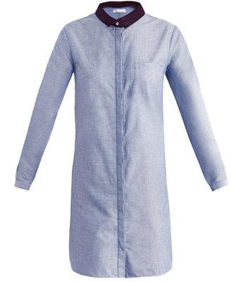 Richard Nicoll Leather-collar twill shirt dress