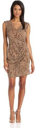 Chaus Women's Sleeveless Cross Front Animal Spots Wrap Dress