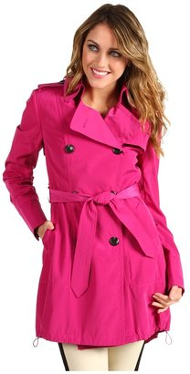 Vince Camuto Double Breasted Trench w/ Drawstring Hem (Fuchsia) - Apparel