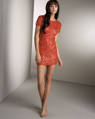 Manoush Sequined Sheath Dress, Orange/Gold